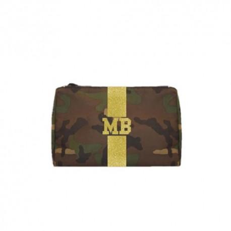 Kosmetická Army taška (unisex) - zlatý glitter pás
