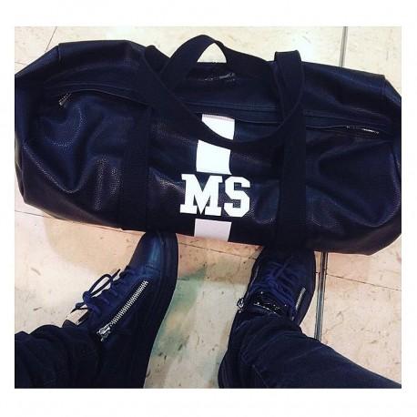 Černá kožená taška - válec - různé barvy pásu