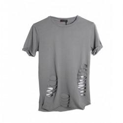 Tričko s dírami - šedé