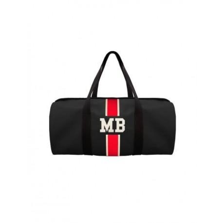 Černá kožená taška - válec - červený pás