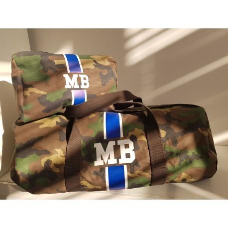 VÝHODNÝ SET - maskáčová taška válec + kosmetická taštička - modrý pás