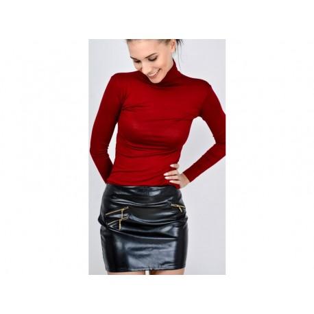 Černá lesklá mini sukně se zlatými zipy