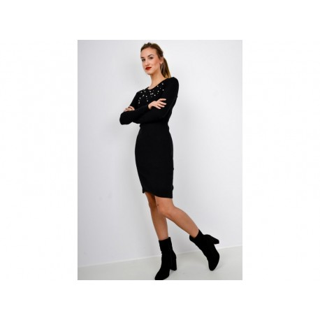 Dámské úzké šaty s perlami - černé, šedé