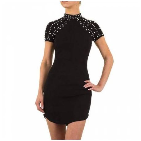 Dámské šaty s perlami černé