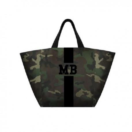 Maskáčová  taška XL - shopper - černý pás
