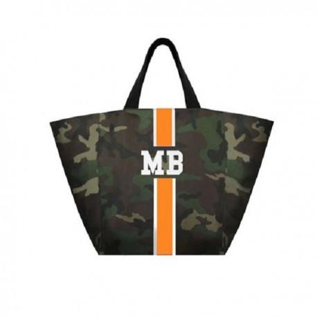 Maskáčová taška XL - shopper - oranžový pás