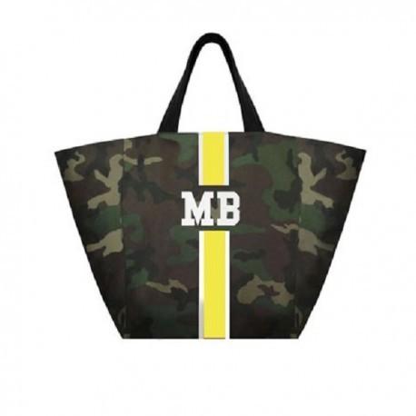 Maskáčová taška XL - shopper - žlutý pás