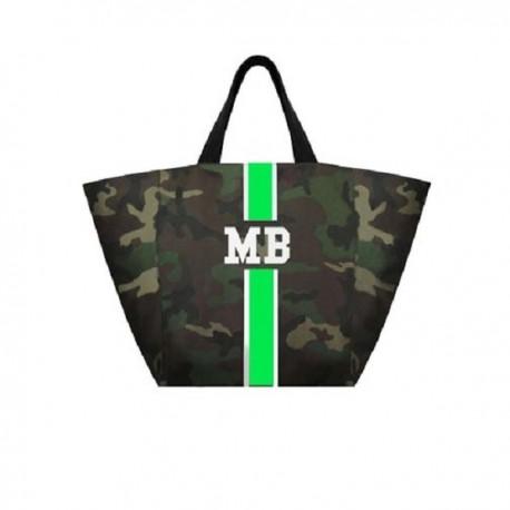 Maskáčová taška XL - shopper - zelený pás