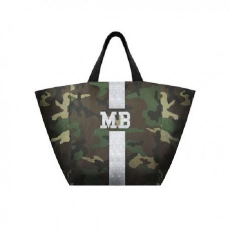 Maskáčová taška XL - shopper - stříbrný pás