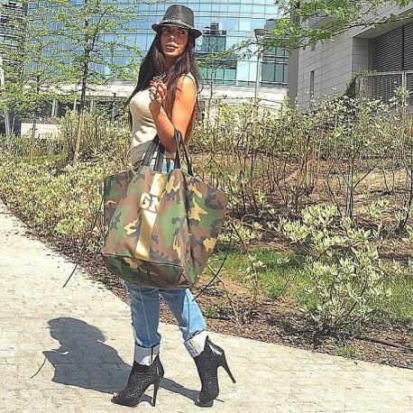 Maskáčová taška XL - shopper - zlatý pás