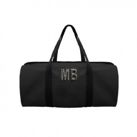 Černá kožená taška - válec - kovové písmena