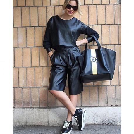 Černá taška  XL - Mia Bag - růžový pás