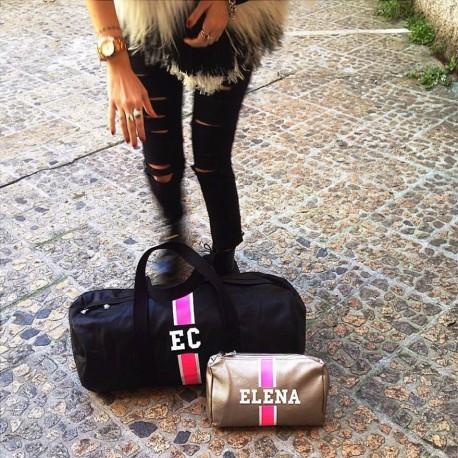 Černá kožená taška - válec - růžový pás