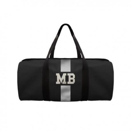 Černá kožená taška - válec - stříbrný pás