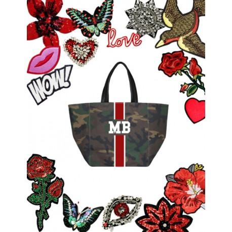 Maskáčová taška XL - s nášivkami