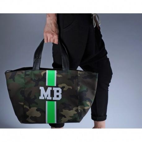Maskáčová taška - shopper - zelený pás,  MB