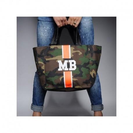 Maskáčová taška - shopper - oranžový pás, MB