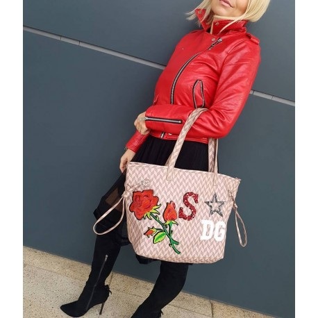 MIA BAG - Shopper s iniciály a s nášivkami