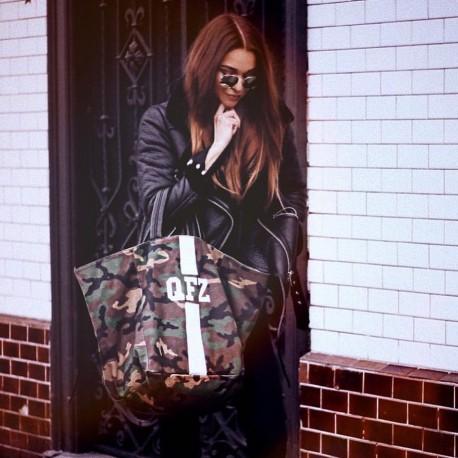 Maskáčová taška XL - shopper - bílý pás