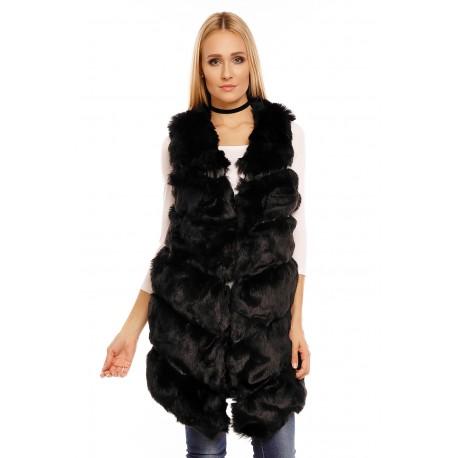Dámská kožešinová vesta - šedá, černá