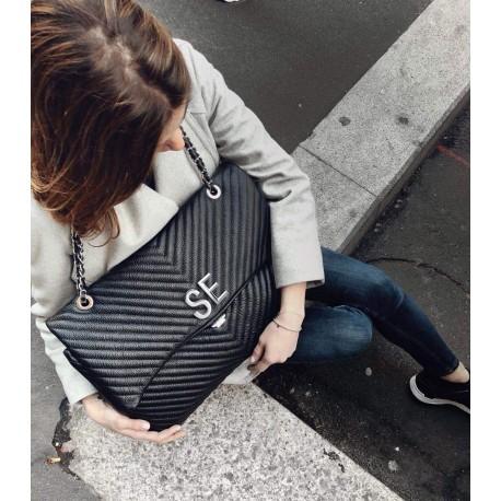 MIA BAG - Kožená  XL kabelka s iniciály  - černá