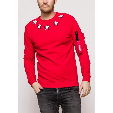 Pánská mikina s hvězdami - červená