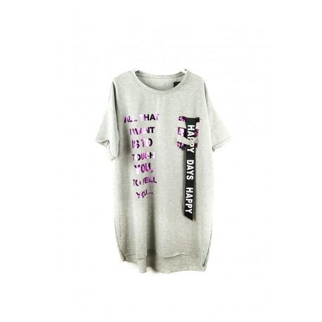 Dámské prodloužené tričko - šedé