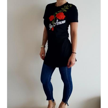 Dámské prodloužené tričko s růžemi - černé, šedé