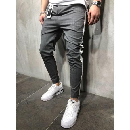 Pánské pruhované nohavice - šedé