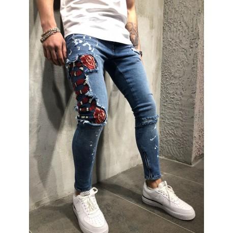 Pánské úzké džíny nášivkami hada a růží
