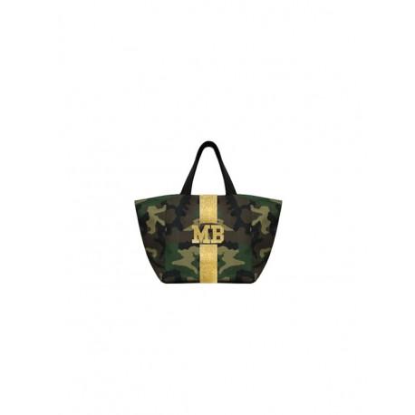 Maskáčová taška - shopper - zlatý glitter pás, MB