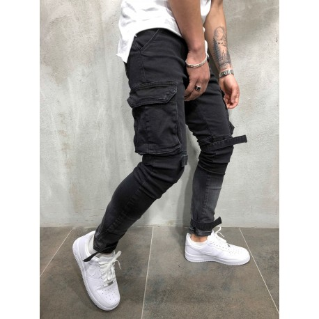 Pánské černé džíny s kapsami