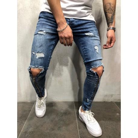 Panské džíny se zipy - modré,bílé,černé