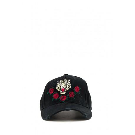 Kšiltovka růže a tygr - černá
